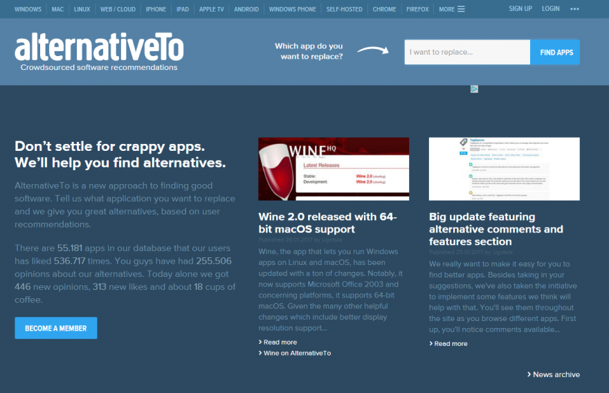 Screenshot Seite www.alternativeto.net
