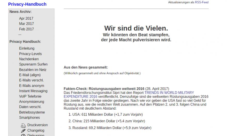 Screenshot der Website privacy-handbuch.de